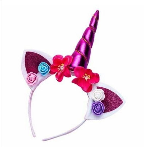 Other - 🦄 FUSHIA Unicorn Horn Flower Headband Caticorn